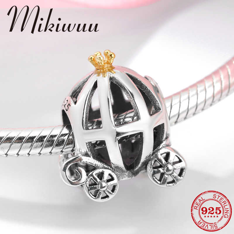 925 Sterling Silver Crown Princess hollow out pumpkin car fine fashion Beads Jewelry making Fit Original Pandora Charm Bracelet