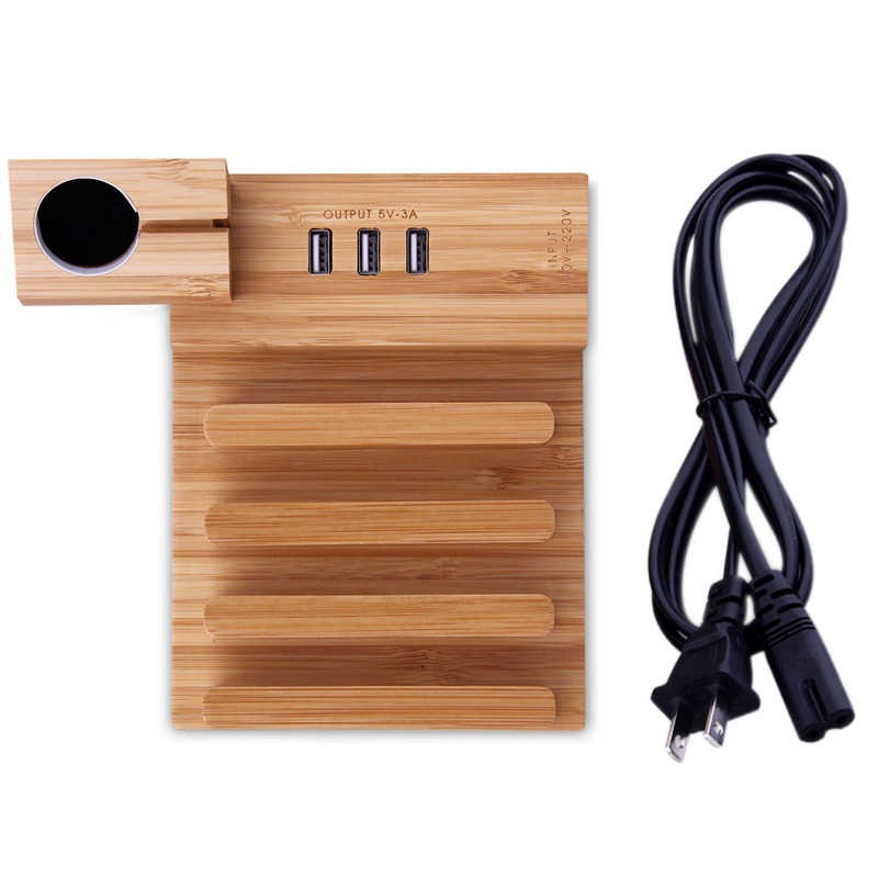 Multi-function Wood Phone Desk Stand Holder Charging Dock 3 USB Ports with Charging Cable for iPhone iPad QJY99