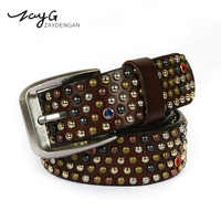 ZAYG The New Fashion Casual Color Rivet Belt Small Mushroom Nail Diamond Cowhide Male and Female Gothic Belt Sapphire Gem