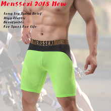 MENSSEXI 2018 High Quality Brand Sports Long Leg Underwear Mens Tight Mesh Boxers Shorts Nylon Faux Fashion Sexy Breathable 887