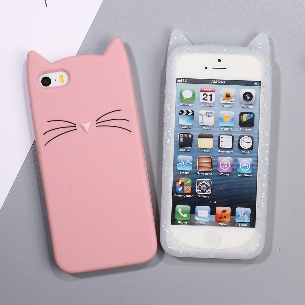 Shell Case for iPhone 5s 5 SE Phone Cases 3D Bearded Cat Silicone Soft Phone Cover for iPhone S E Mobile Phone Bag - Hot Selling