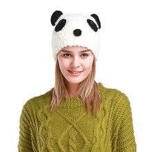 Las nuevas mujeres de sombrero blanco lindo de la Panda de lana sombrero  mantener cálido otoño e invierno hecho a mano tejido de. 77bd52ba86d
