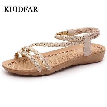 KUIDFAR Women Sandals Plus Size 36-42 Summer women shoes woman Flip Flops Ladies Flat Sandals chaussure Sandalias