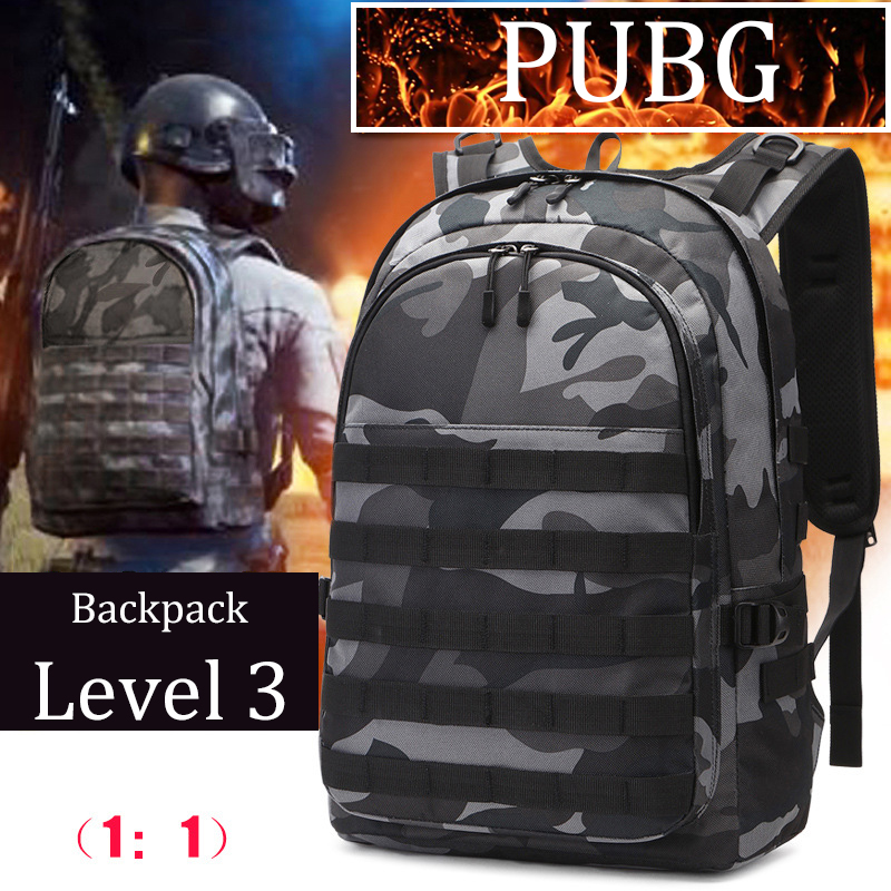 2019 Men's Battlefield Backpack Multifunction High Capacity Camouflage Travel Rucksack USB Headphone Jack Game Level 3 Bag PUBG