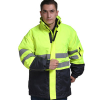 Men winter warm cotton jacket workwear hooded reflective thicken padded cotton clothes wear resistant work safety jacket S 4XL