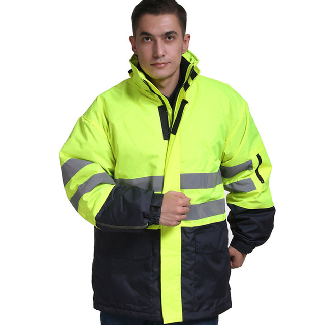 17e8d3cc2634 Men winter warm cotton jacket workwear hooded reflective thicken padded  cotton clothes wear resistant work safety jacket S-4XL