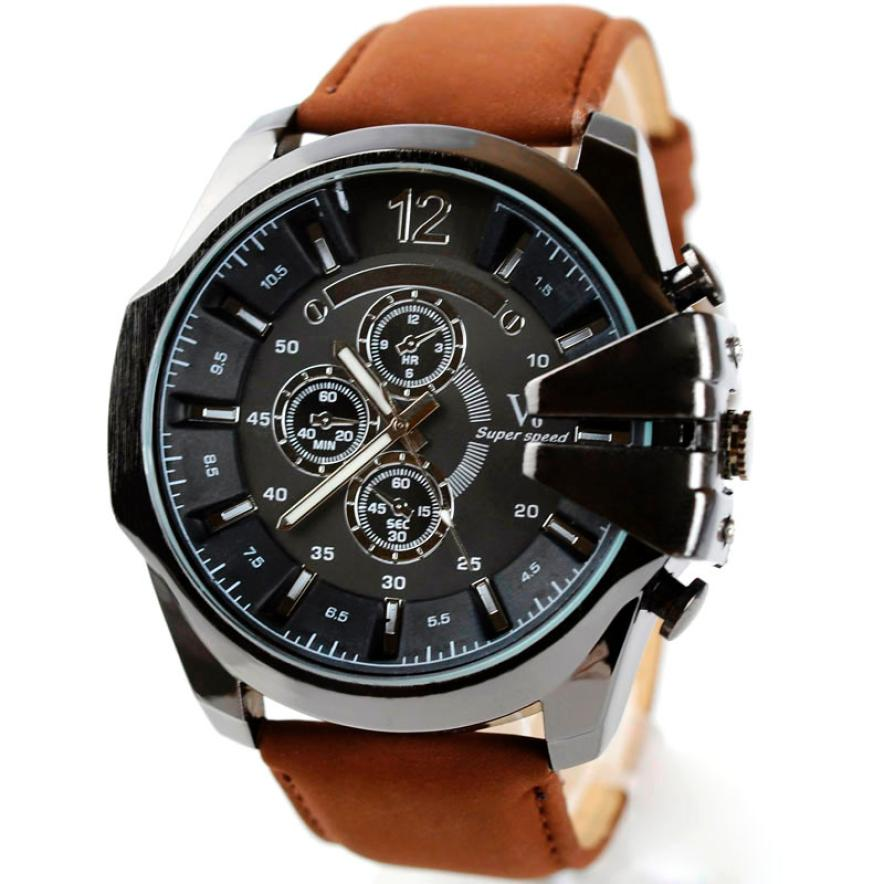 Luxury Men Watch Analog Sport Steel Case Quartz Dial