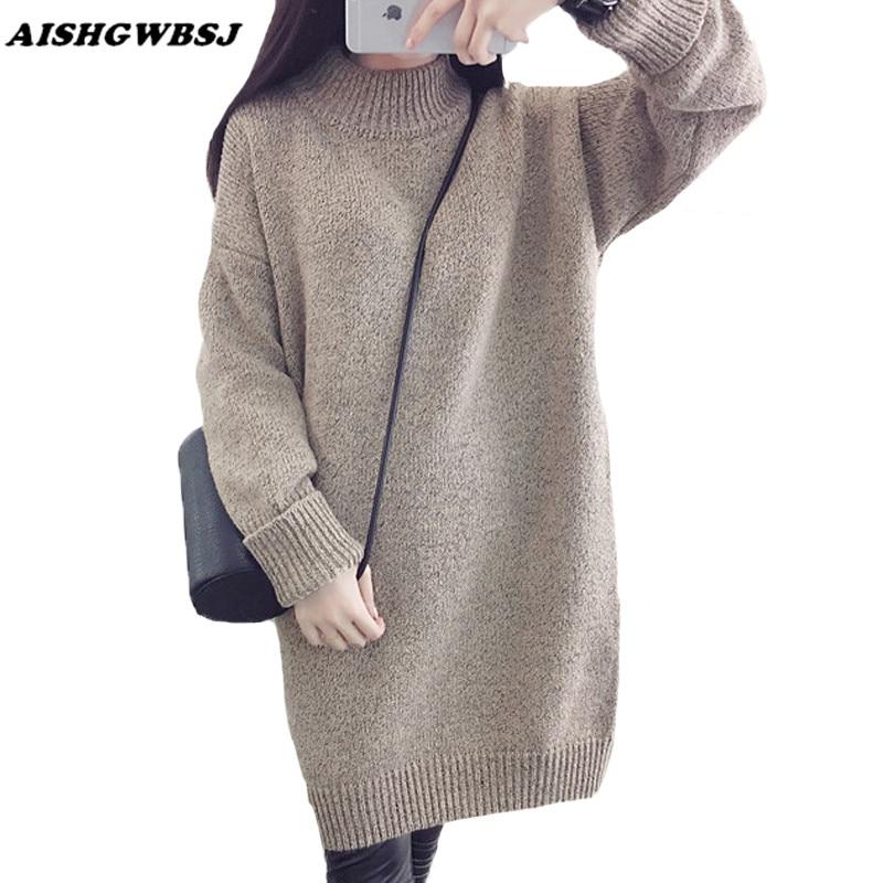 AISHGWBSJ Autumn Winter Women Sweater Dresses Turtleneck Long Sweaters Knitted Loose Knitwear Thick Warm Sweater Pullovers SW193