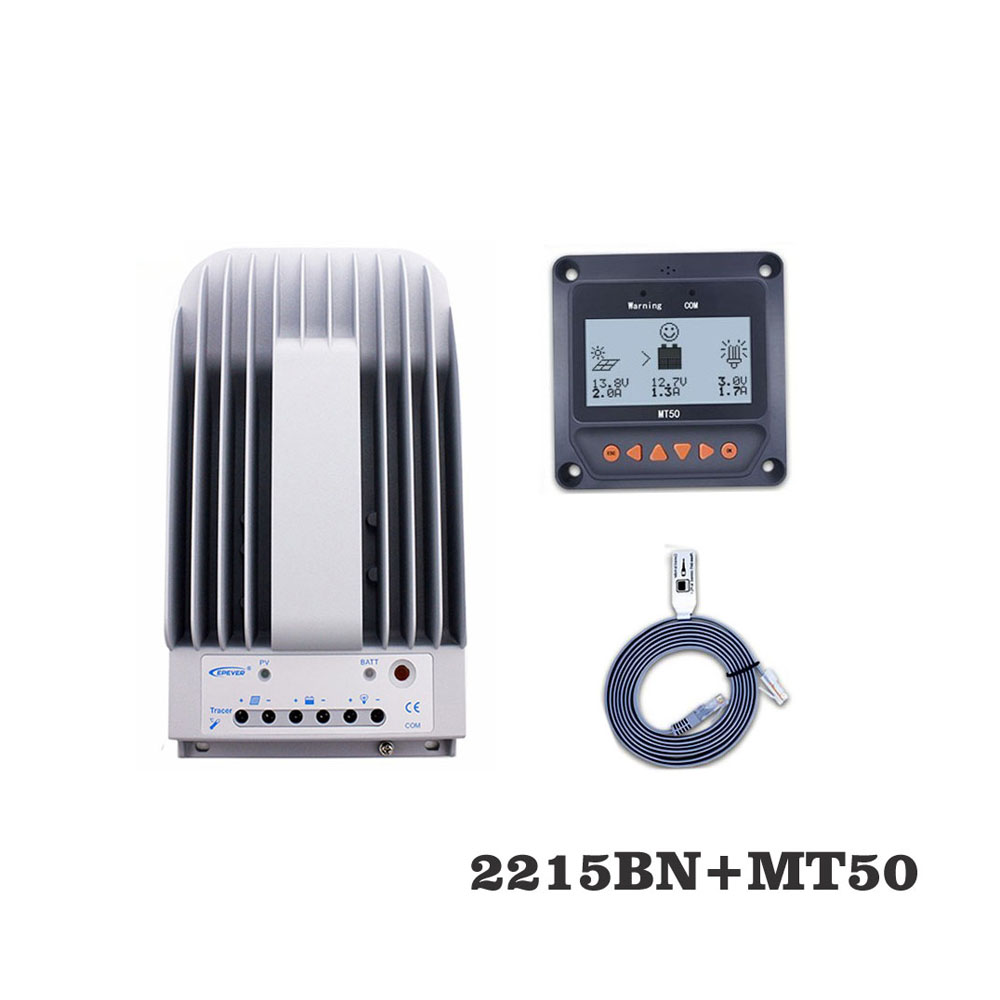 Tracer2215BNN 20A MPPT contrôleur de Charge solaire cellule chargeur de batterie contrôle 2215BN avec MT50 compteur à distance LCD affichage
