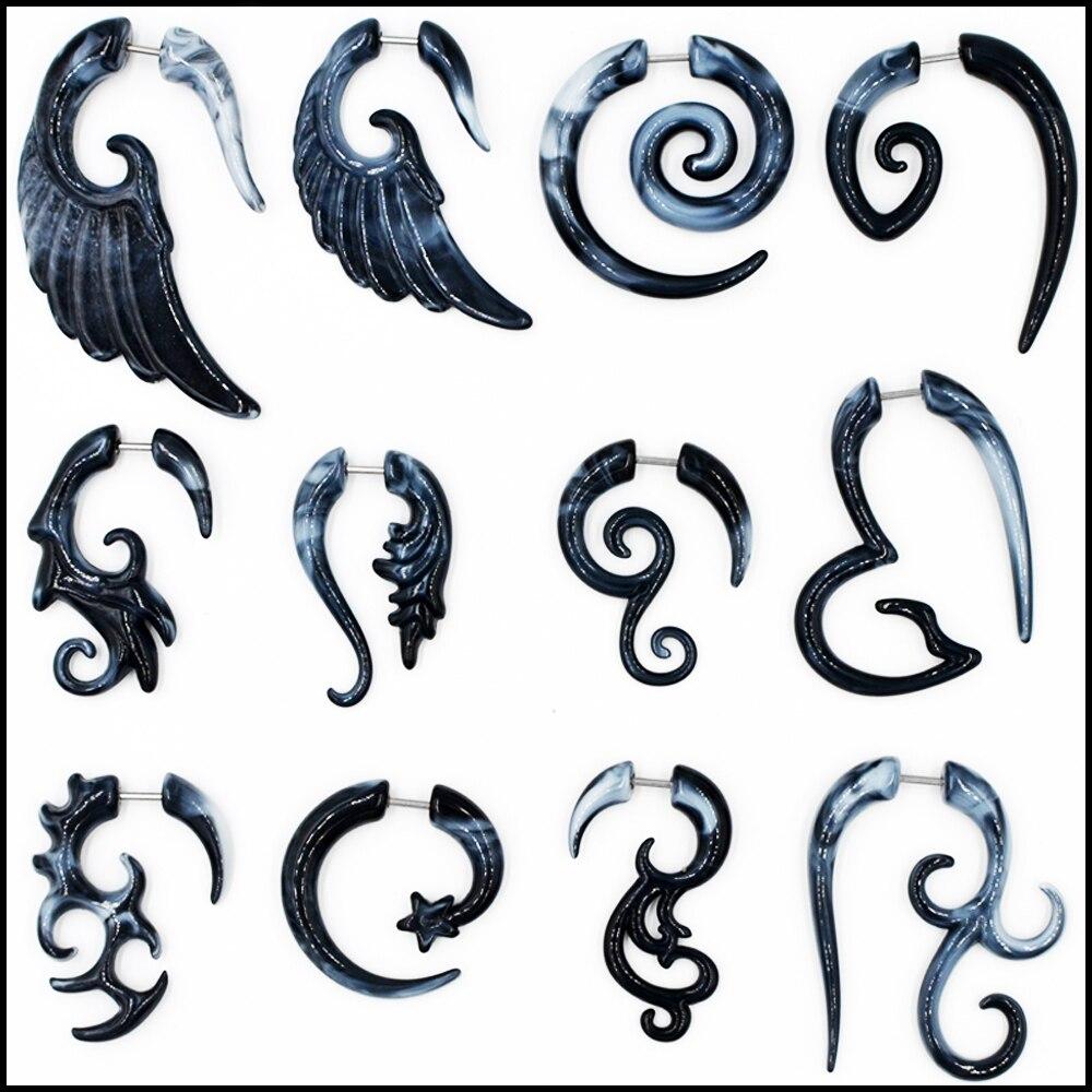 2 Pieces Heteromorphism Shape Gauge Ear Plug Double Color Acrylic Flesh Earring Wing Heart Spiral Shape Body Piercing Jewelry16g