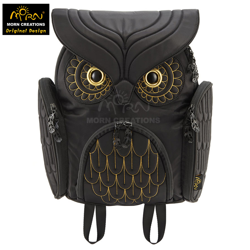 Hong Kong Original Design Morn Creations Golden Embroidery Typical Owl Backpack (M)  The Owl Style Shoulder Bag morn creations hong kong original design soft handle panda backpack blue laptop school bags