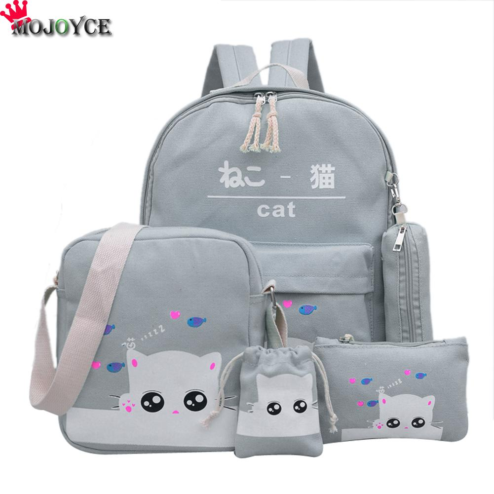 Buy Blue Cat Backpacks For Girl Gray Print School Backpacks For Teenage Girls Printing Backpack Set School Bags Pink for $15.17 in AliExpress store
