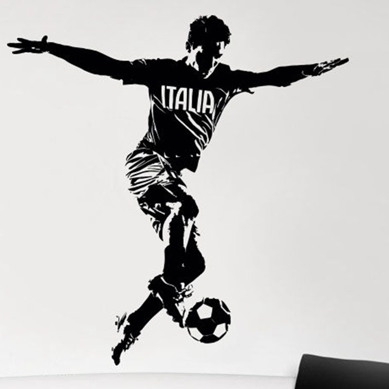 DCTAL Football Player Italia Sticker Sports Soccer Decal Helmets Kids Room Name Posters Vinyl Wall Decals Football Sticker
