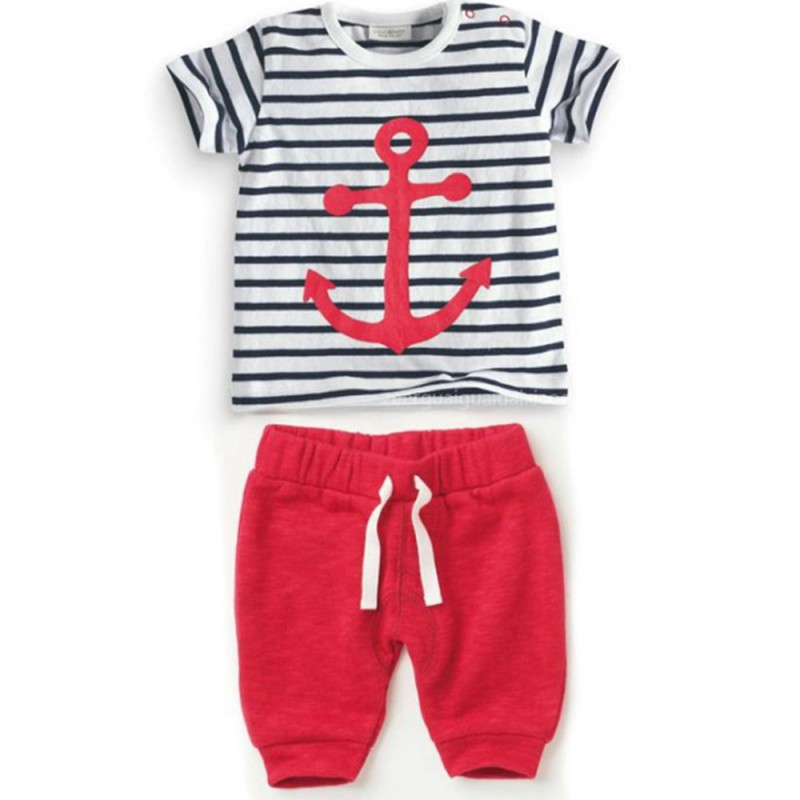 2017 Baby Boys Cotton Summer Clothing Set Striped Anchor T Shirt Pant Clothes Set Bebe De Roupa baby girl clothing syriped short sleeve tshirt pant headband 2pcs set summer baby girls clothes set roupa de bebe