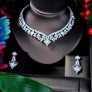 Image 2 - HIBRIDE Elegante Blume Design AAA Cubic Zirkon Frauen Braut Schmuck Sets Für Party Zubehör Schmuck Geschenke N 941