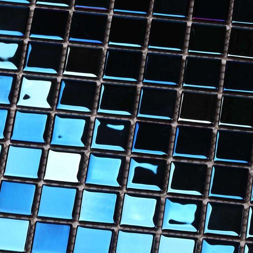 arco iris luminoso azul galvanizado cuadrados de mosaico de vidrio para bao ducha azulejos pared de