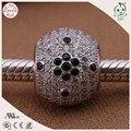 Qualidade superior 100% 925 Material de Prata Branco E Preto Zircon Pedra de Pavimentação Famosa Pulseira de Encaixe de Prata Do Grânulo Europeu