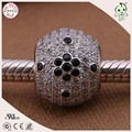 Top Quality 100% 925 Silver Material White And Black Zircon Stone Paving Silver  Bead Fitting European Famous Bracelet