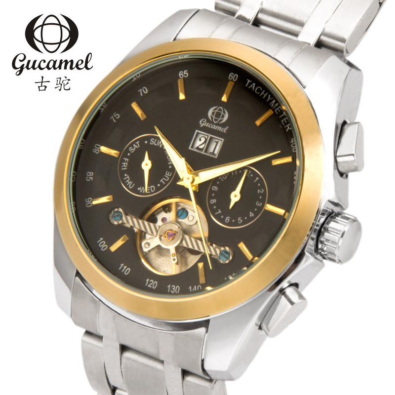 GUCAMEL Top Luxury Brand Mens Watch Tourbillon Automatic Mechanical Male Wristwatch Waterproof Stainless Steel Watches Genuine
