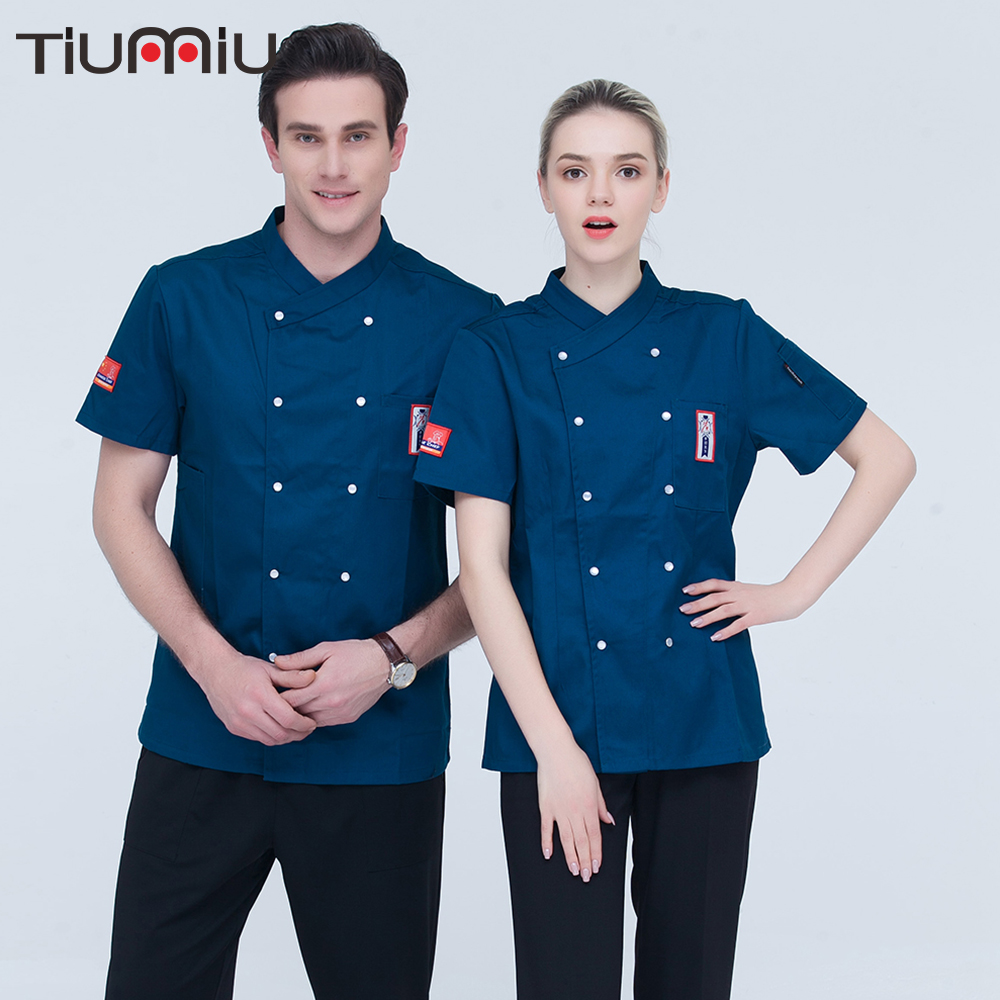 2018 High Quality Chef Coat Women/Men Short-sleeves Embroidery Kitchen Work Chef Jacket Catering Restaurant Cake Bakery Uniform