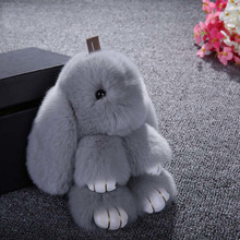 Ptslan New Rex Furs Rabbit Plush Toys Key Ring Keychain Pendant Bag Car Charm Tag Cute Mini Rabbit Toy Doll Real Fur Monster