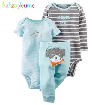 3piece/Spring Summer Newborn Clothes Cute Cotton Long Sleeve Girls Boys Bodysuits+Pants+Jumpsuit Twin Baby Clothing Set BC1771-1