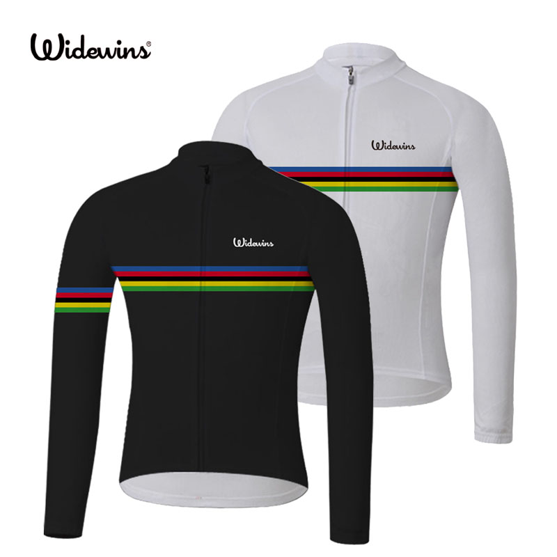 NUEVO Summer widewins campeón del mundo arco iris negro de manga larga Ciclismo Jersey 2017 Bike Bicycle Wear Ropa Ciclismo 2 color 8007