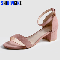 Fashion Suede Women Sandals 2019 Summer Ankle Strap Female Shoes Causal Open Toe Footwear Butterfly knot Ladies High Heels m918