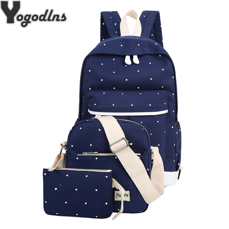 3Pcs/set Korean Casual Women Backpack Canvas Book shoulder Bag Preppy Style School Knapsack for Teenage Girls Composite Rucksack