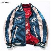 Aolamegs Japan Yokosuka Embroidery Jacket Men Women Fashion Vintage Baseball Uniform Both Sides Wear Bomber Jackets Streetwear