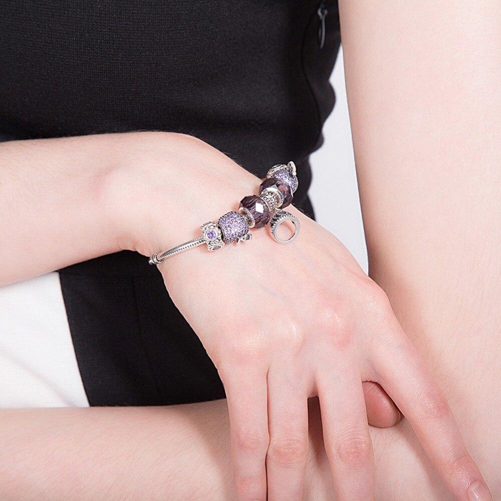925 браслеты стерлингового серебра для женщин высокое качество, поступления 2016 г. Jewelry Винтаж Стекло бусина, жесткий Браслет Fit Браслет Femme - 6