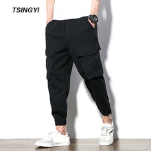 Tsingyi Autumn Plus size Loose Man Joggers Casual Pants Black Camo Multi Pockets Hip Hop Cargo Pant Drawstring Tactical Joggers multi pockets drawstring cuff camo cargo pants