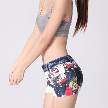 2018 Women's printed jeans Shorts beauty painted pattern denim short trousers  slim fit  colored skinny pencil pants