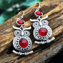 2019 New Red Zircon Owl Dangle Earring for Women Fashion Jewelry Wedding Brincos Mujer Engagement Statement Animal Drop Earings vecalon office fashion tassels dangle earring aaaaa zircon cz white gold filled engagement wedding drop earring for women