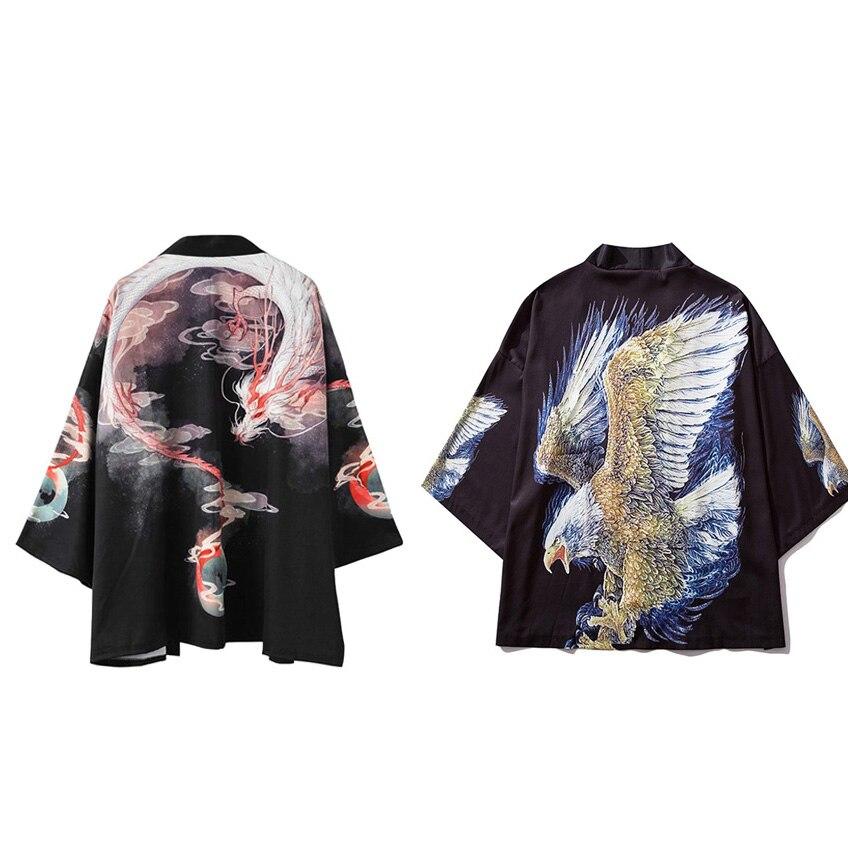 Retro Sinicism Japanese Style Man Cardigan Coat Harajuku Loose Style Hip Hop Kimono Haori Totem Dragon Print Streetwear Outwear