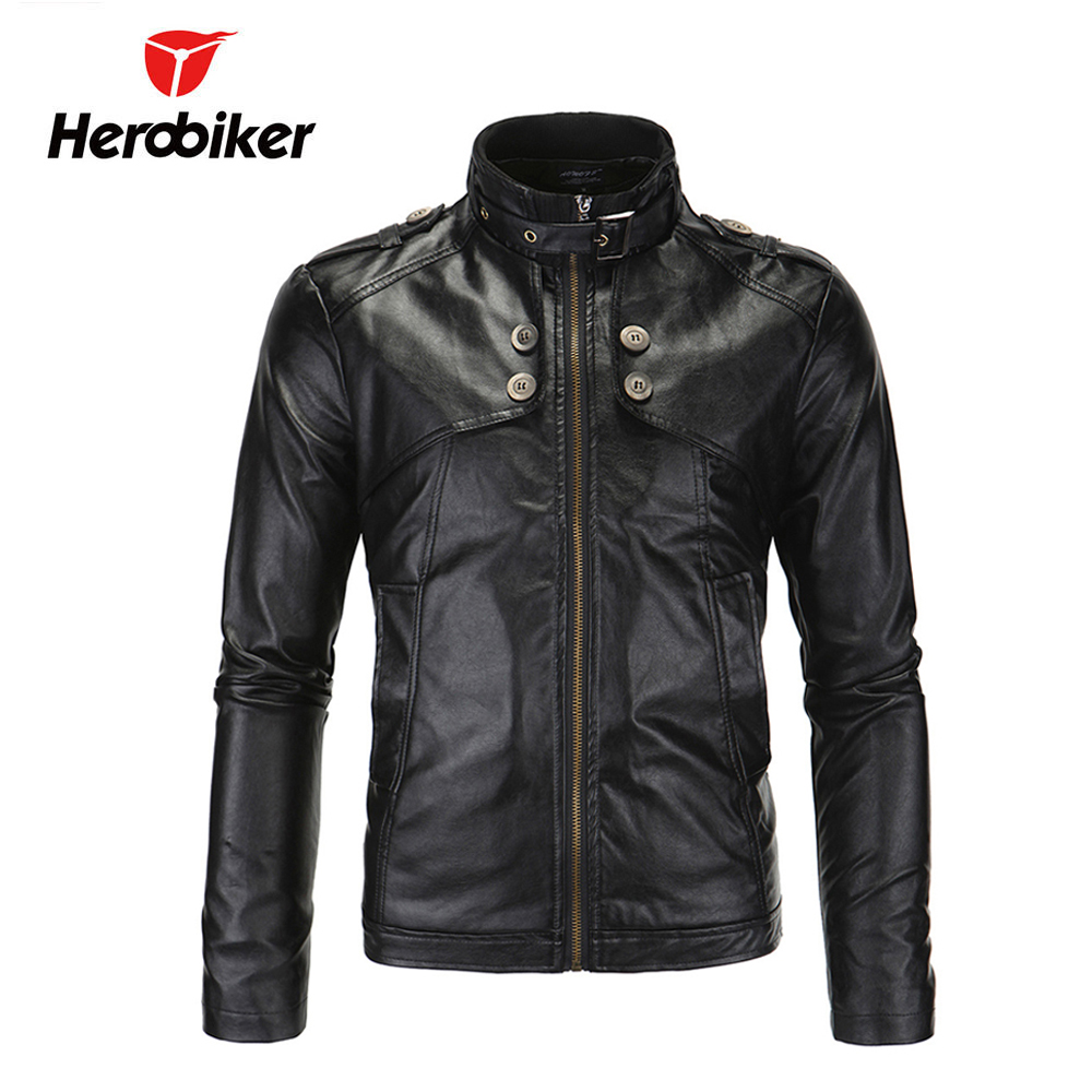 HEROBIKER Chaqueta Motorcycle Jackets Men Vintage Retro PU Leather Jaqueta Racing Punk Classical Casual Windproof Moto