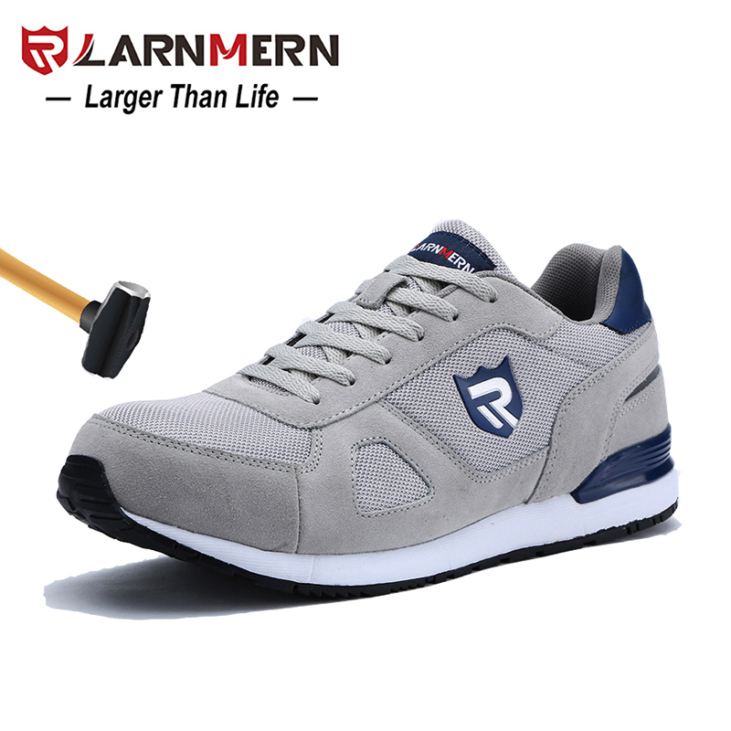 Work & Safety Boots Men's Boots Larnmern Mens Steel Toe Work Safety Shoes Lightweight Breathable Anti-smashing Non-slip Reflective Casual Sneaker