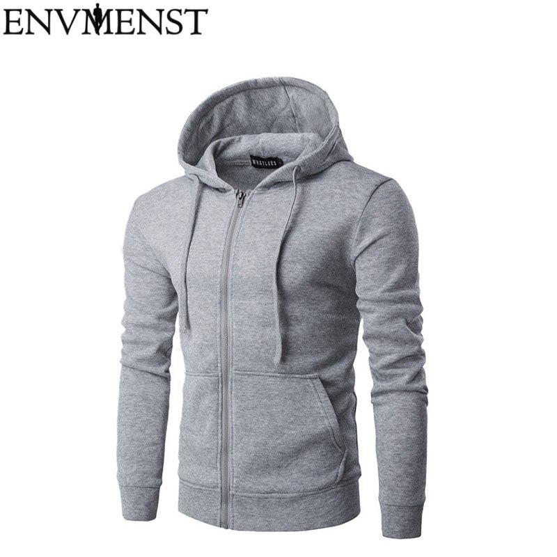 Fashion Men Zipper Hoodie Ripped Hooded Sweatshirt Long Sleeve Pullover Hoodie