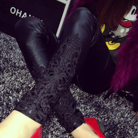 S 5XL Leggings Faux Leather Leggings Women Lace Decoration Legging Pants Black Trousers Thin Leggins Plus