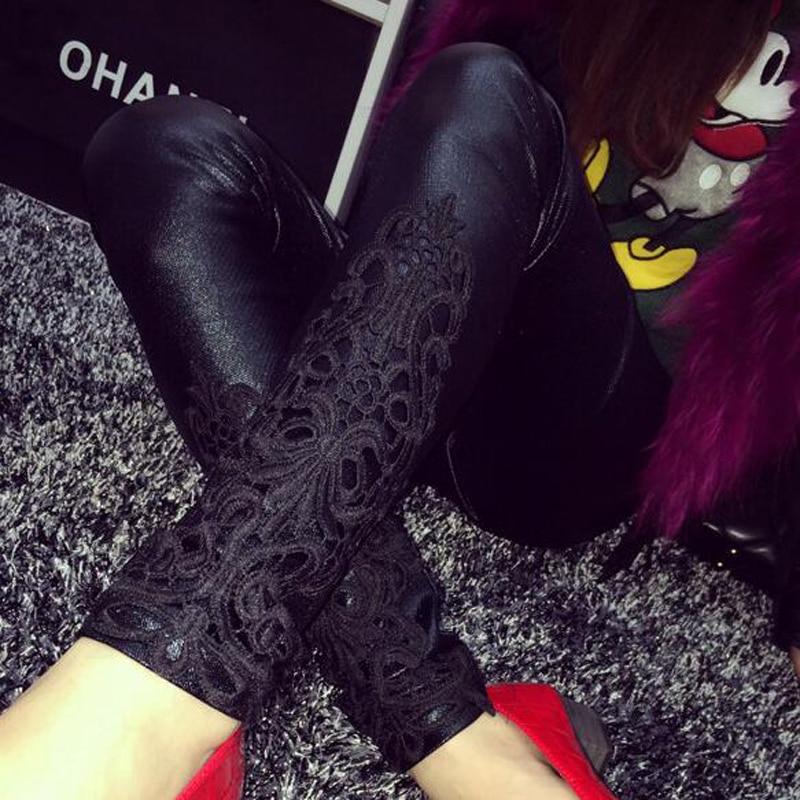 S- 5XL Leggings Faux Leather Leggings Women Lace Decoration High Waist Black Jeggings Thin Leggins Plus Size 5XL 4XL 3XL Xxl