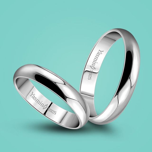 b1a0f765d5 Fashion Couple Rings 925 Sterling Silver Smooth Design Ring Simple Silver  Silver Ring Anniversary Gifts popular Argent jewelry