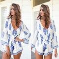 Vestido женщина 2016 новых глубоким v-образным вырезом сексуальный печатных платье лето тонкий полный вспышка рукав свободного покроя платье женский мода стиль Большой размер