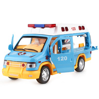 New 1:32 120 ambulance zinc alloy model,simulation children's sound and light pull back medical rescue car model,free shipping