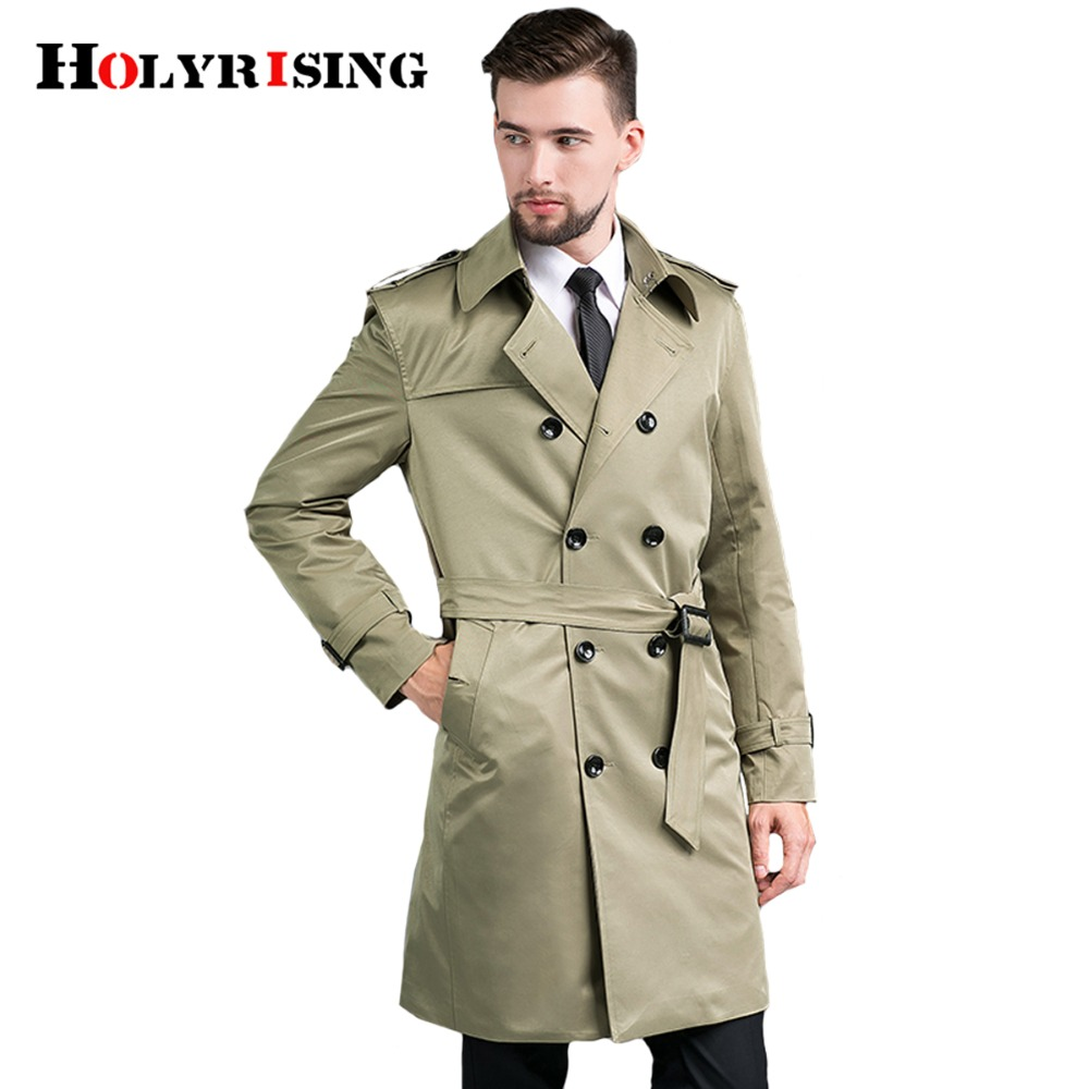 GRMO Men Double-Breasted Printing Notch Lapel Business Trench Overcoat