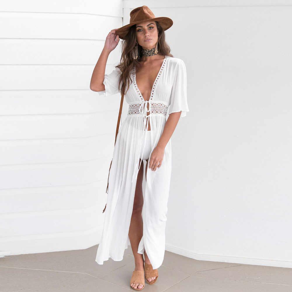 Стильная женская обувь для женщин однотонные белые Cover up пляжная одежда купальник Шифон Пляжная ванный комплект летний праздник кимоно кардиган #50