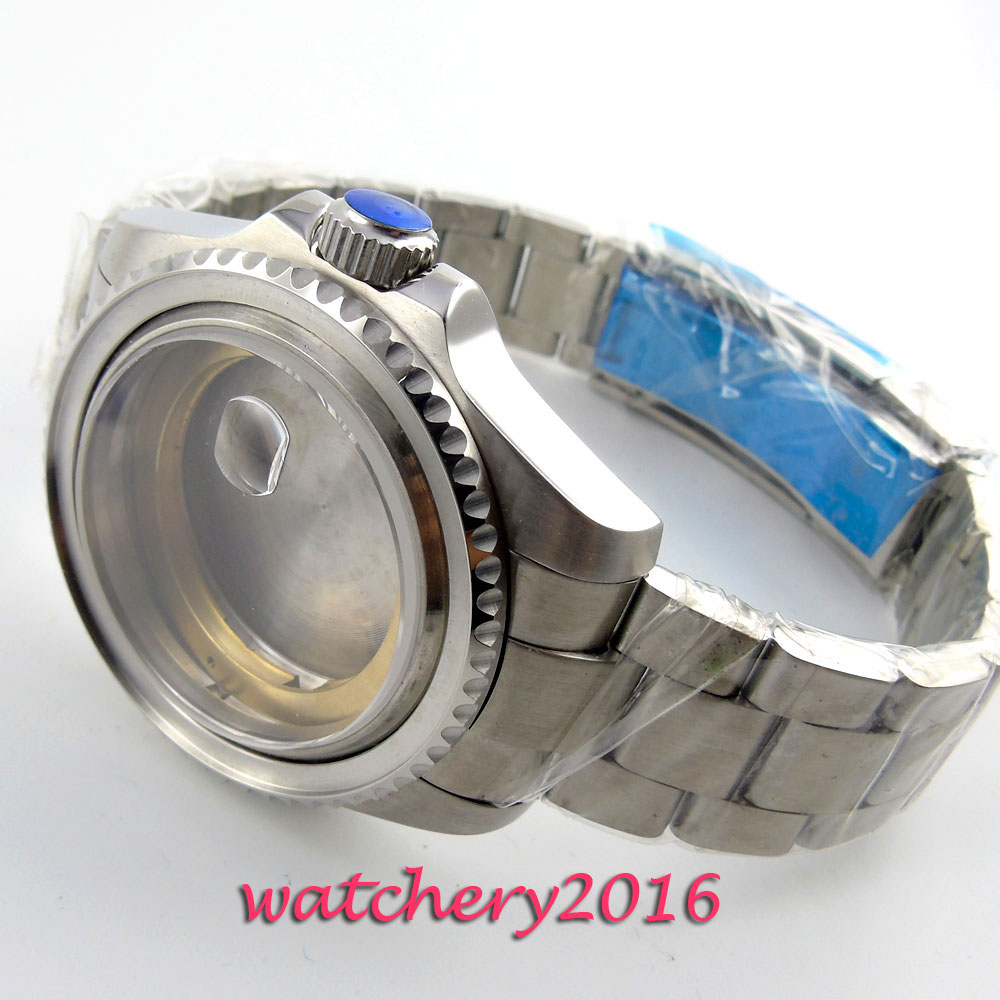 лучшая цена 43mm Stainless Steel Sapphire Glass Watch Case fit ETA 2824 2836 Movement