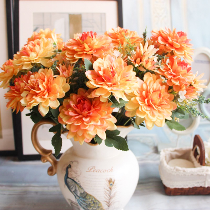 Average Cost Of Wedding Flowers 2014: Artificial Flowers Fake Flowers 10 Heads Gerbera Daisy