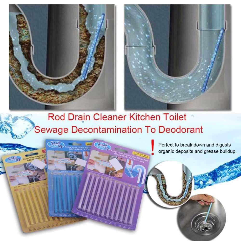 12 ピース/セットブルースティック下水道ロッドクリーナーキッチントイレ浴槽下水除染に消臭下水道クリーニングツール