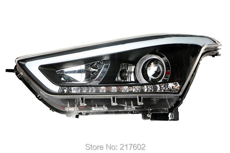 Для Hyundai ix25 Фары для автомобиля ближнего света Биксеноновая объектив с светодиодный свет ДРЛ и привело включить свет огни автомобиля сборки