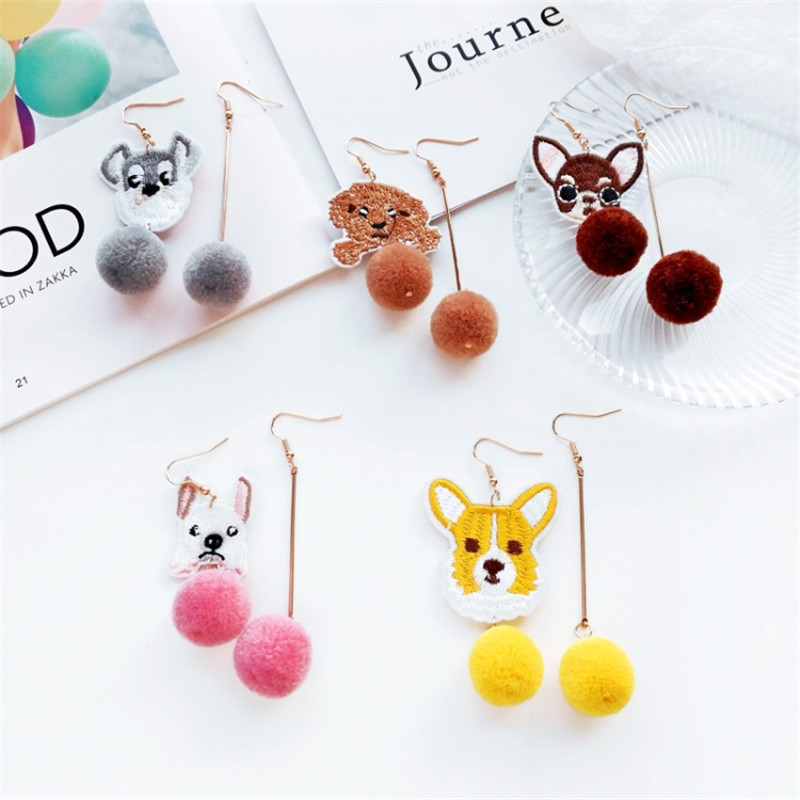 Cute Cartoon 6 Style Teddy Dog Shar Pei Chihuahua Fur Ball Asymmetric Earrings Ear Clips Female Personality Charm Jewelry Gift